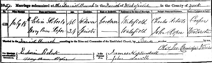 Marriage Edwin Roberts to Mary ann Roper